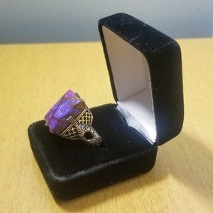 Vintage Jewelry - Vintage Sterling Silver Ring with Purple Jasper